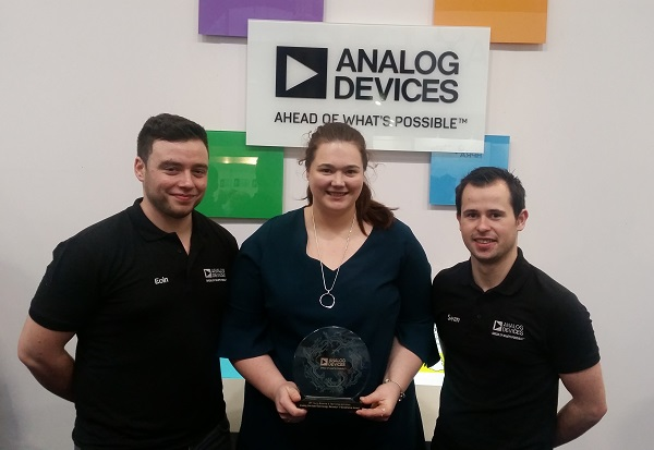 Mary Gorey receiving her award Technology Educator of Excellence from Analog Devices at BTYSE